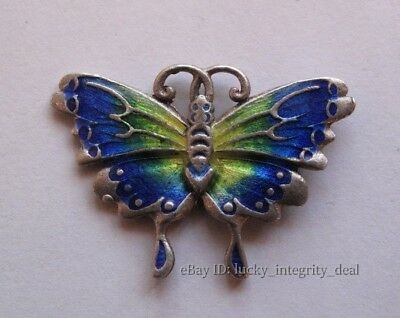 Old Chinese Handicraft Enamel Pure Silver Carved Butterfly Pendant