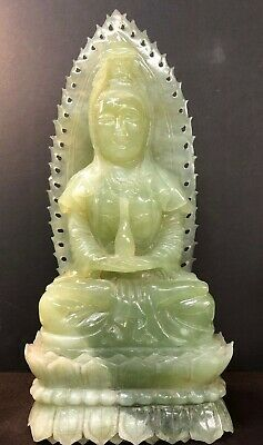 "Large Chinese Carved Bowenite Seated Figure Of Guanyin 16 3/4""Tall"