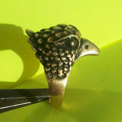 LOVELY rare ancient solid bronze bird ring artifact original antique Stunning