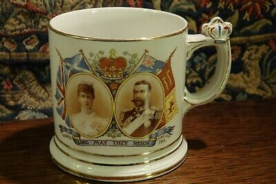 An Antique 1911 Commemorative Mug With An Unusual Crown Handle