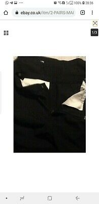 MARKS & SPENCER 3 BOYS BLACK SCHOOL TROUSERS ADJ WAIST AGE 13 - 14 years