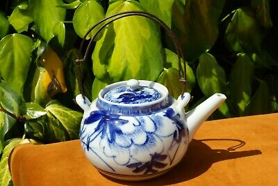 A Handpainted Antique Blue & White Chinese / Japanese Porcelain Kettle / Teapot