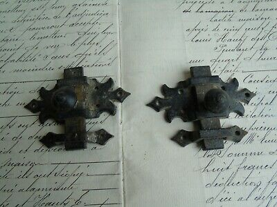 French 2 of  iron slide locks with receive country hardware vintage