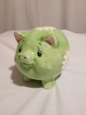 Vintage Ceramic Green With White Daisies Pig Piggy Coin Bank