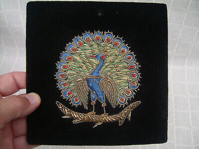 Vintage stump work embroidery peacock picture