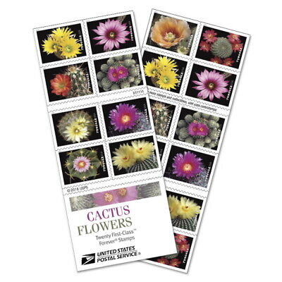 USPS Forever Postage Stamps 'Cactus Flowers' full booklet of 20