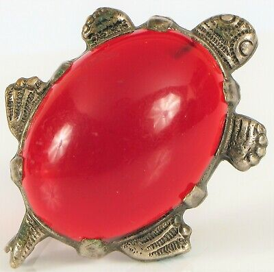 Antique Chinese Export Silver Plated Cherry Red Amber Turtle Brooch 6.6 Grams !
