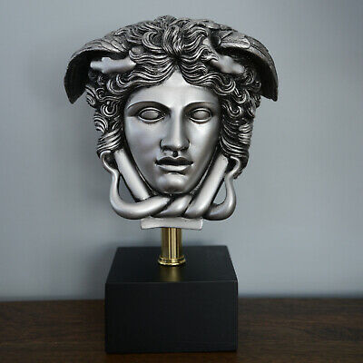 "Medusa Bust Head Greek Roman Versace Sculpture 11"" Replica Antique Silver"