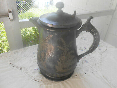 Wilcox Silver Plate Large Etched Ornate Water Pitcher Jug Antique Victorian VTG