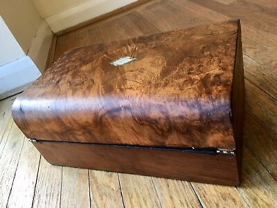 Superb Victorian Burr Walnut Writing Slope / Sewing Box / Jewel Box