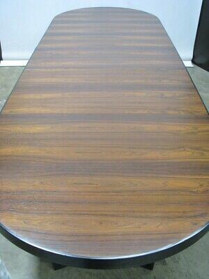 "137"" Vintage Custom Rosewood Oval Dining Table with Triple Base + 3 Leaves; Mint"