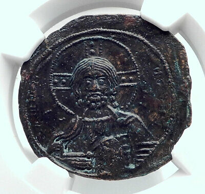JESUS CHRIST Class A3 Anonymous Ancient 1020AD Byzantine Follis Coin NGC i80780