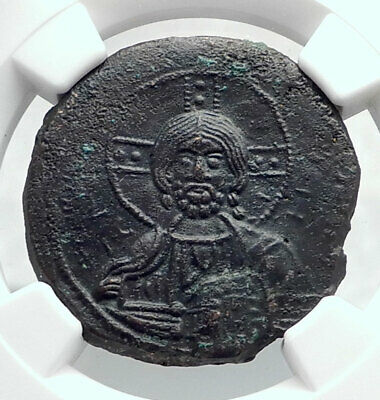 JESUS CHRIST Class A3 Anonymous Ancient 1020AD Byzantine Follis Coin NGC i80782