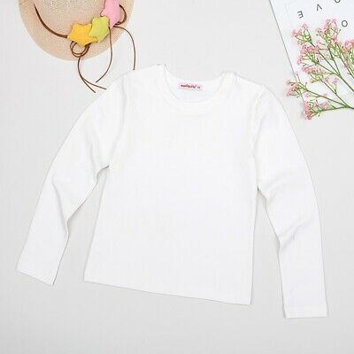 Kids Girls Casual Long Sleeve Cute Cotton Solid White T-shirt Baby Joker Tops