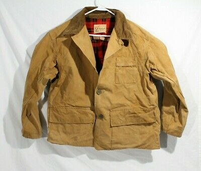 1940s Duxbak Canvas Hunting Coat Jacket With Red Flannel Lining Men's M/L