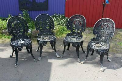 A Set of Four Original Victorian Cast Iron Garden Chairs