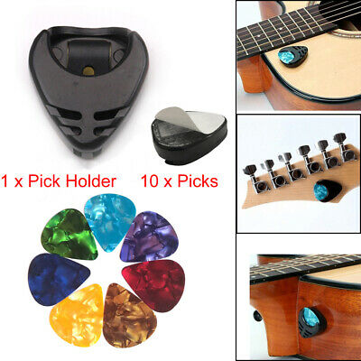 10pcs Picks + Pick Holder Case for Acoustic Guitar Electric Guitar Bass Ukulele