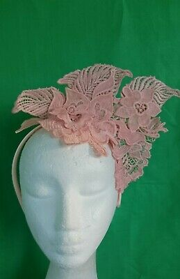 Morgan And Taylor Nude Peach Lace Fascinator Headband Crown Races Wedding