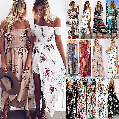 Women's Boho Floral Maxi Dress Summer Beach Holiday Cocktail Party Long Sundress