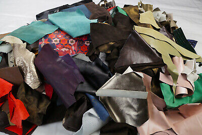 Mix Leather Scraps craft packs 500 g - Goat Sheep Leather - Millinery/Jewellery