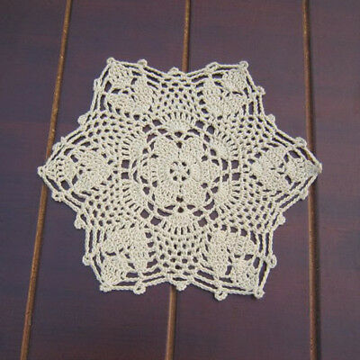 4Pcs Hand Crochet Lace Doilies Table Mats Doily Snowflake Placemats Wedding 8.6""