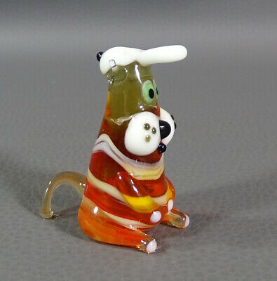 "1960 Italian Murano Art Hand Blown Amber&Milk Glass Animal Hat Figurine 2""Figure"