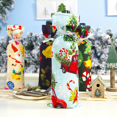 ALS_ Red Wine Bottle Cover Bags Snowman Santa Claus Christmas Table Decoration W