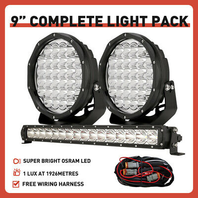 "New OSRAM 20""inch LED Light Bar 9"" Round Driving Lights Spotlight Spot Headlight"