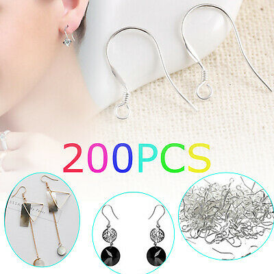 200pcs 100pcs 925 Silver Earring Hooks French Hook Hypoallergenic Ear Wire DIY