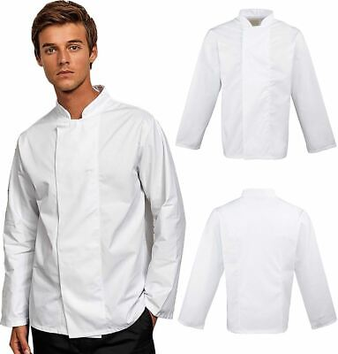 Mens Womens Plain Chefs Jacket Unisex Cooking Kitchen Work Wear Catering Coat