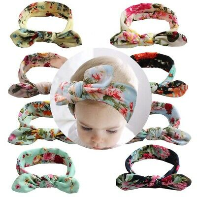 Girls Baby Printed Bunny Ear Hair Band Toddler Elastic Bow Headband Accessories
