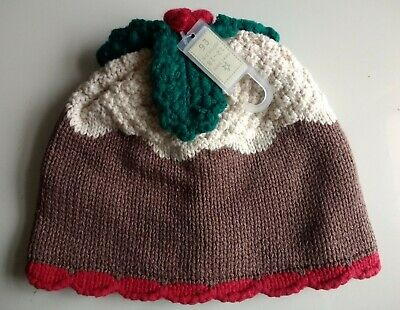 NEXT Boys Girls Christmas Pudding Hat Age 12 18 Months Knitted Winter Beanie NEW