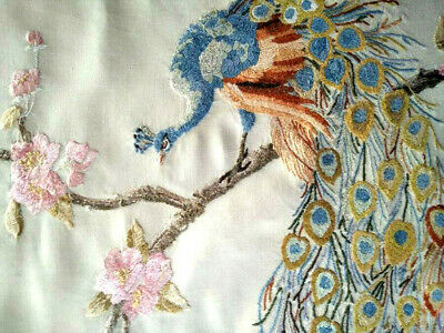 Exquisite Peacock & Feathers/Cherry Blossom Vintage Silk Hand Embroidered Panel