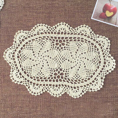 "4Pcs/Lot Oval Vintage Hand Crochet Lace Doilies Table Runner Mats Doily 10""x16"""