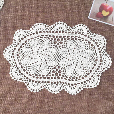 "4Pcs/Lot White Vintage Hand Crochet Lace Doilies Oval Table Runner Mats 10""x16"""