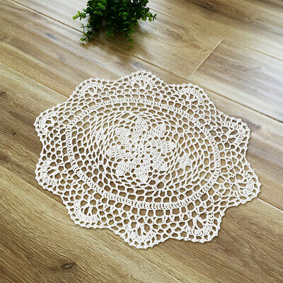 "4Pcs/Lot White Cotton Lace Vintage Hand Crochet Doilies Oval Placemats 10""x13"""