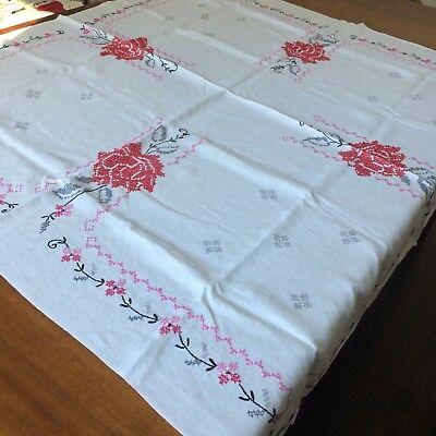 """Vtg tablecloth white linen embroidered red rose pink 49x46"""" FARM COT SHAB CHIC"""