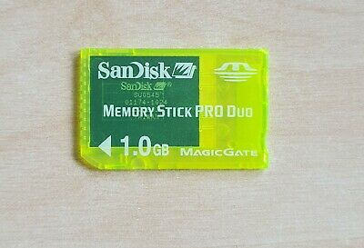 Official Sandisk PSP Memory Stick PRO Duo 1GB Genuine Card SONY Yellow 1.0 GB