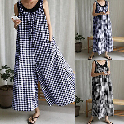 Women Plus Size Wide Leg Bib Pants Trousers Playsuit Jumpsuit Dungarees Overalls