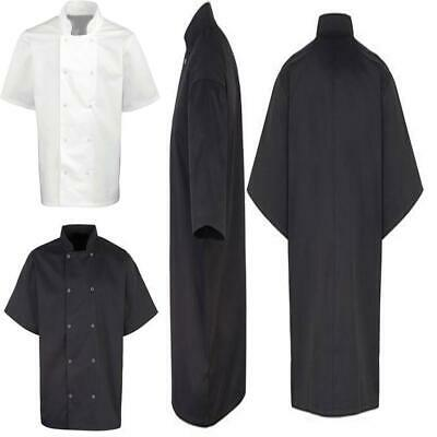 Unisex Mandarin Collar Studded Front Short Sleeve Chefs Coat Work Wear Jacket