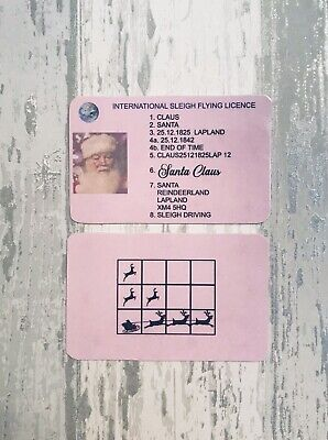 Sleigh Licence Father Christmas Santa Claus Lost Driving Licence License