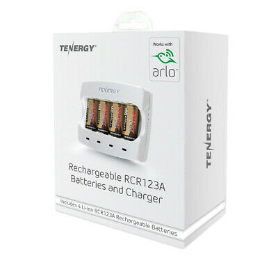 Arlo Certified - Tenergy Rechargeable RCR123 Batteries & Charger (Euro)