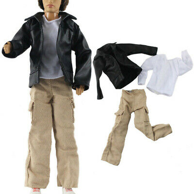 3 PCS Set Outfit Coat V Neck T Shirt Pants for 11.5 inch Boy Dolls