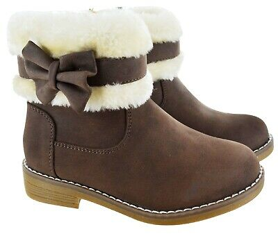 Kids Girls Childrens Infants Winter Warm Bow Faux Fir Lined Flat Ankle Boots Sz