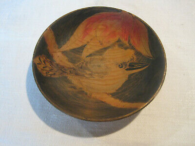 Vintage hand carved wooden bowl decorated with Kookaburra bird