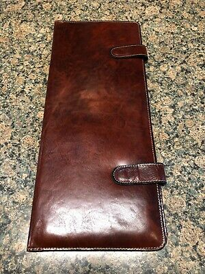"""Leather Brown Tie Holder Protective Travel Case 15.5"""" X 6.5"""""""