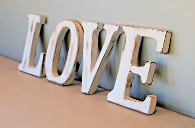 "Large Shabby Chic Vintage White Wooden Letters ""Love"" Wedding Gift Freestanding"