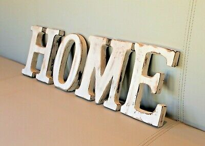 "Large Shabby Chic Vintage White Wooden Letters ""Home"" Wedding Gift Freestanding"