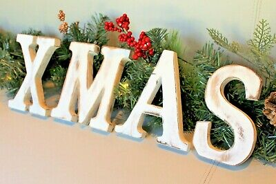 "Large Shabby Chic Vintage White Wooden Letters ""Xmas"" Christmas Decoration"