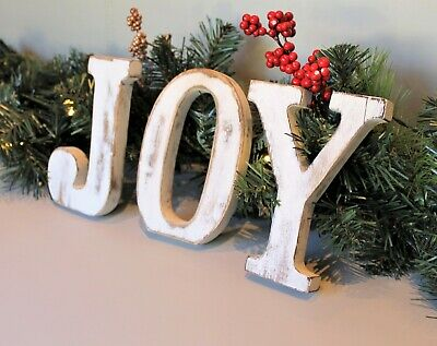 "Large Shabby Chic Vintage White Wooden Letters ""Joy"" Christmas Decoration"